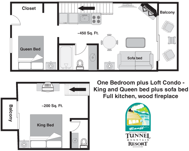 Tunnel mountain resort one bedroom loft king banff condos for One bedroom loft floor plans