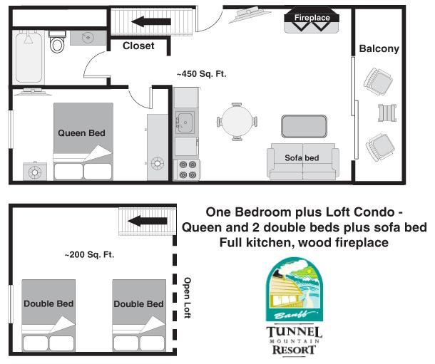 Floor plan - Deluxe One Bedroom Condo