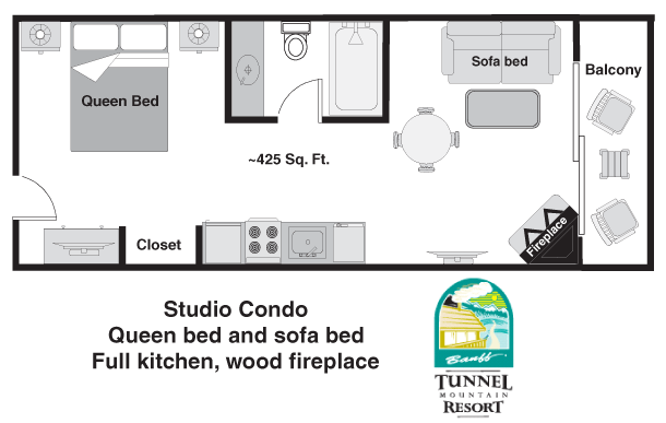 Floor plan - Deluxe One Bedroom Condo