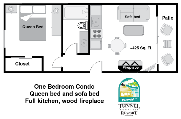 One bedroom condo at tunnel mountain resort in banff for 1 bedroom condo floor plans