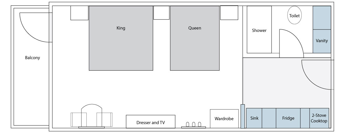 Superior Suite 1 King 1 Queen Floorplan