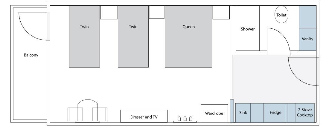 Superior Suite 1 Queen 2 Twin Floorplan