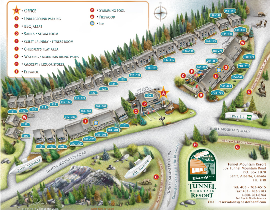 Tunnel Mountain Resort map