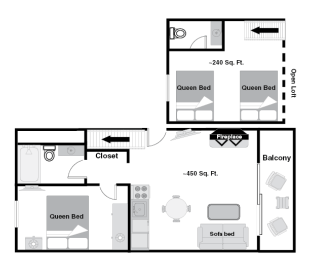 Floor plan - Deluxe One Bedroom Loft Condo